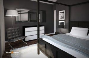 Чёрные обои для спальни