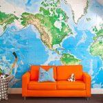 Фотообои карты мира на стену море и океаны