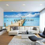 Фотообои моря и океаны в интерьере гостиной 3