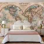 Фотообои старинные карты мира в интерьере квартиры
