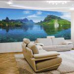 Фотообои в гостиной горы и реки
