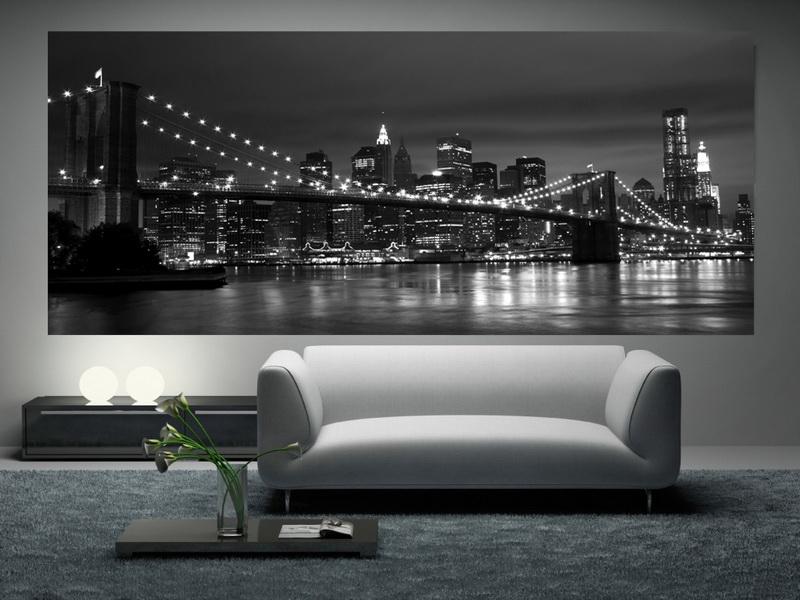 фотообои ночной город в интерьере гостиной фото