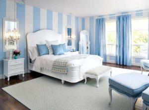 Голубые обои для спальни