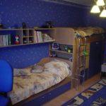 Голубые обои в детской комнаты мальчика