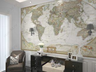 Фотообои карта мира на стену