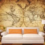 Обои карты мира в гостиной фото в интерьере