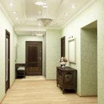 Виниловые обои светлых оттенков в коридоре