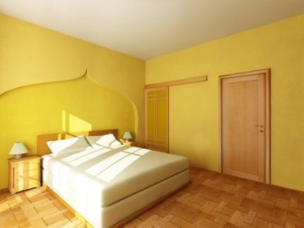 Жёлтые обои для спальни