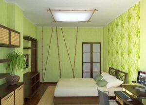 Зелёные обои для спальни