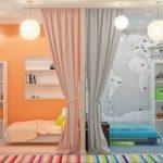 Зонирование обоями комнат разнополых детей