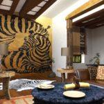 фотообои этнические композиции в интерьере гостиной