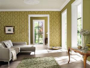 Монохромные цвета обоев в гостиной