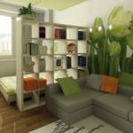 Зонирование гостиной фотообоями и простыми
